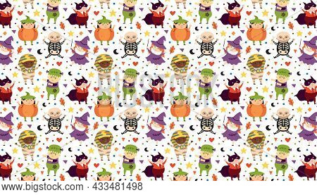 Children In Halloween Costumes Of Spooky Creatures. Day Of Dead Holiday Pattern, Banner, Background.