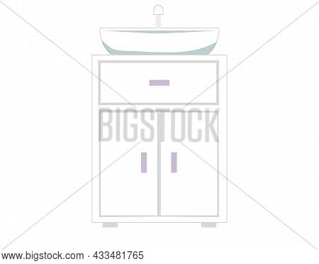 Vanity Unit And Bathroom Washbasin, Vector Wash-hand Stand Illustration. Home Decoration And Interio