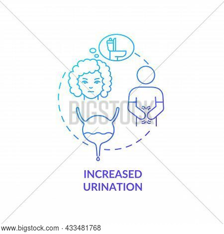 Increased Urination Blue Gradient Concept Icon. Frequent Peeing Causes Dehydration. Sign Of Diabetes