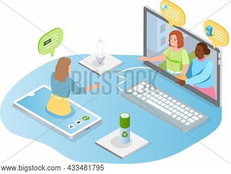 Girl Communicates With Friends Online. Collective Virtual Meeting Or Group Video Conference. Chattin