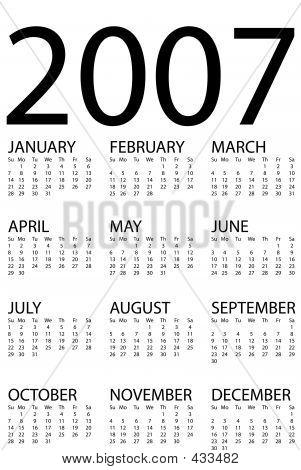 2007 Calendar Simple V
