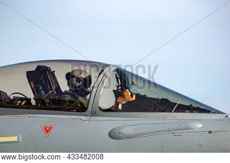 German Air Force Pilot In A Eurofighter Typhoon Fighter Jet At The Tigermeet At Kleine-brogel Air Ba