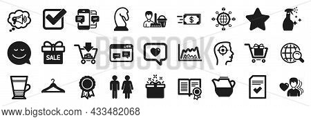 Set Of Simple Icons, Such As Internet Search, Star, Megaphone Icons. Double Latte, Special Offer, Sm