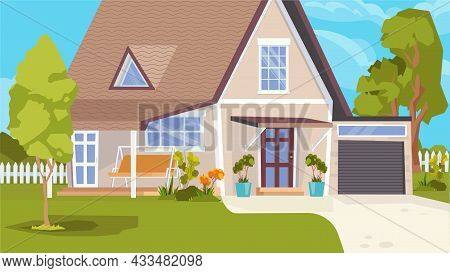 Suburban House Building Exterior Concept In Flat Cartoon Design. Detached House With Garage, Green L