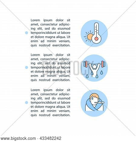 Dehydration Reason Concept Line Icons With Text. Ppt Page Vector Template With Copy Space. Brochure,