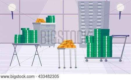 Safe Deposit Box Inside Concept In Flat Cartoon Design. Gold Bars, Stacks Of Money, Cabinets And Tab