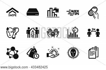 Vector Set Of Integrity, Education And Safe Time Icons Simple Set. Capsule Pill, Social Distancing A