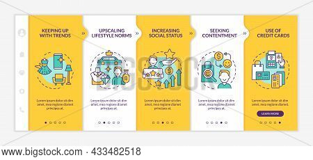 Consumerism Motivation Yellow Onboarding Vector Template. Responsive Mobile Website With Icons. Web