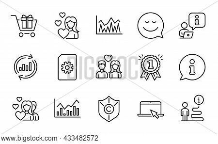 Line Icons Set. Included Icon As Copyright Protection, Portable Computer, Love Signs. Investment, Sh