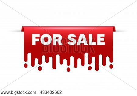 For Sale. Red Ribbon Tag Banner. Special Offer Price Sign. Advertising Discounts Symbol. For Sale St