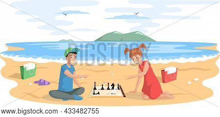 Children Playing Board Game Together. Kids Boy And Girl Friends Playing Chess Sitting On Sandy Beach