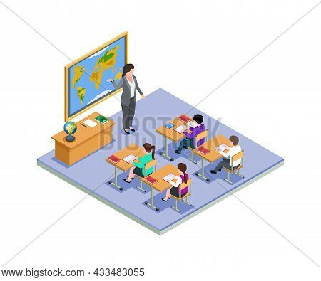 Classroom Concept. Isometric School Class, Teacher And Children On Lesson. Geography, Young Students