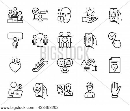 Vector Set Of Online Access, Heart And Hand Line Icons Set. Thumb Down, Repairman And Face Attention