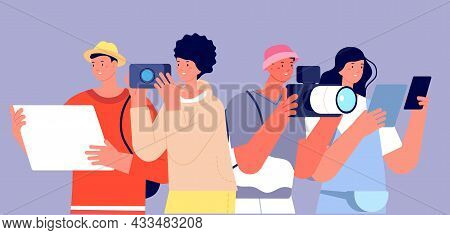 Tourism Characters. Tour Group Vacation, People With Photo And Map Looking Around. Happy Travellers,