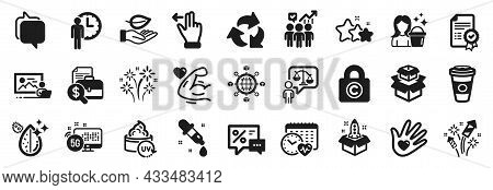 Set Of Business Icons, Such As Discounts, Fireworks Rocket, Photo Studio Icons. Dirty Water, Busines