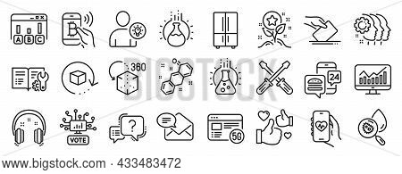 Set Of Technology Icons, Such As Screwdriverl, Health App, Employees Teamwork Icons. Chemistry Exper