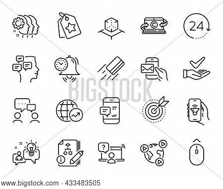 Vector Set Of Music App, Idea And Algorithm Line Icons Set. Messenger Mail, Time Management And Vide