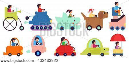 Cartoon Child Transportation Characters. People Drive Vehicle, Happy Riding. Childish Cute Transport