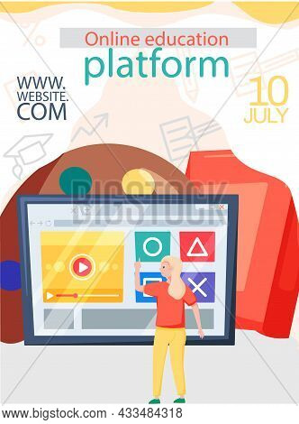 Online Education Concept. Education Platform Modern Digital Technologies Banner. E-learning, Home Sc