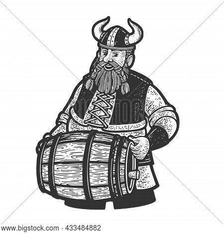 Viking With A Keg Of Beer Sketch Engraving Vector Illustration. T-shirt Apparel Print Design. Scratc