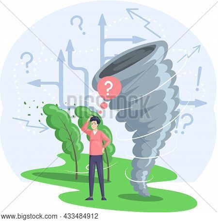 Solving Problem Of Environmental Disasters. Huge Tornado Destroying Houses And Buildings On Its Path