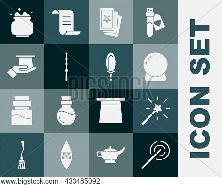 Set Magic Wand, Ball, Three Tarot Cards, Magician Hat In Hand, Witch Cauldron And Sword Fire Icon. V