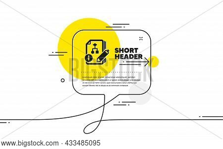 Documentation With Algorithm Icon. Continuous Line Chat Bubble Banner. Technical Instruction Sign. A