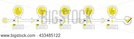 Trade Infographic Timeline With 5 Steps. Lightbulb Journey Path Infographics. Shopping Process Diagr