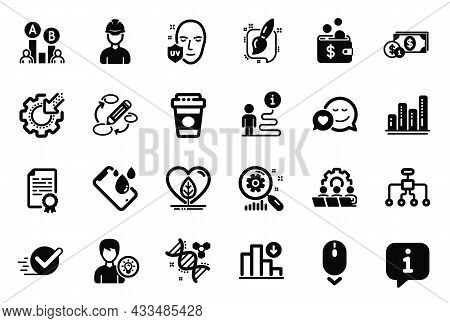 Vector Set Of Business Icons Related To Keywords, Search Statistics And Scroll Down Icons. Restructu