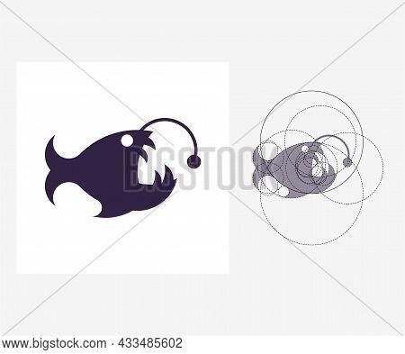 Vector Angler Fish In Golden Ratio Style. Editable Illustration