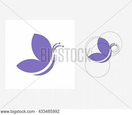Vector Butterfly In Golden Ratio Style. Editable Illustration