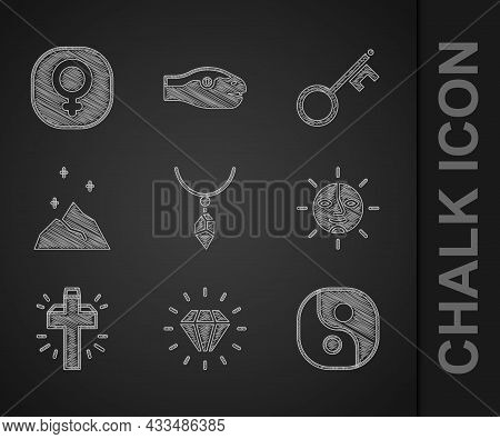 Set Necklace With Crystal, Diamond, Yin Yang, Sun, Christian Cross, Magic Powder, Old Key And Venus