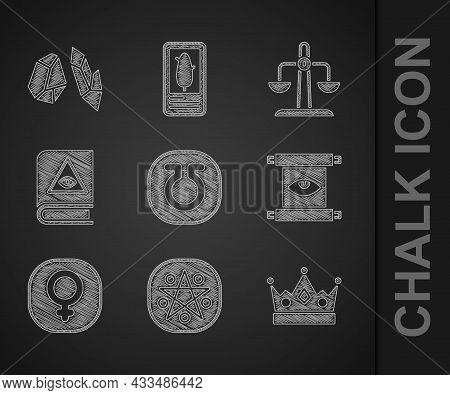 Set Life, Pentagram In A Circle, King Crown, Ancient Magic Scroll, Venus, Book, Libra Zodiac And Mag