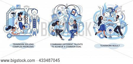 Teamwork Result Solving Complex Problems Combining Different Talents To Achieve Common Goal. Creativ