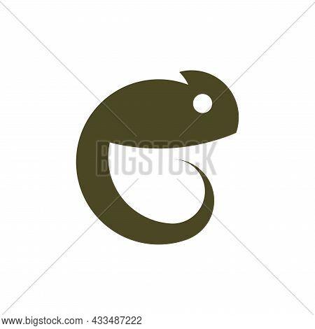 Vector Chameleon In Golden Ratio Style. Editable Illustration