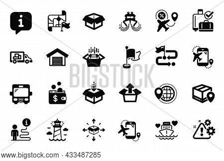 Vector Set Of Transportation Icons Related To Parking Garage, Parcel Tracking And Flag Icons. Flight