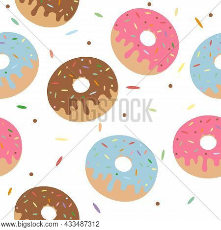 Hand Drawn Cute Colorful Glaze Donuts And Sprinkles Seamless Pattern. Vector Illustartion For Textil