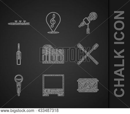Set Grand Piano, Voice Assistant, Drum, Sticks, Microphone, Audio Jack, And Drum Icon. Vector