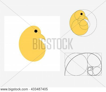 Vector Chick In Golden Ratio Style. Editable Illustration