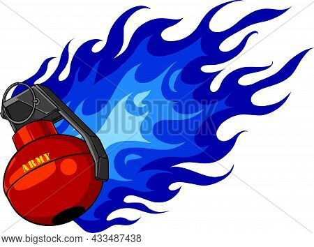 Explosion Of A Combat Grenade. Flat Vector Illustration Isolated On White Background.