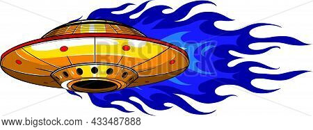 Flying Ufo Icon. Cartoon Of Flying Ufo Vector Icon For Web Design Isolated On White Background