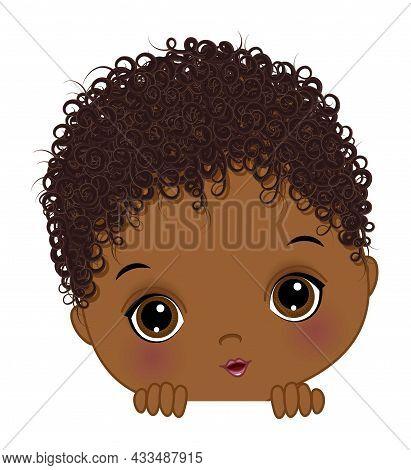 Cute Little African American Baby Boy Playing Peek A Boo. Black Boy Is Cute And Curly. Peekaboo Afri