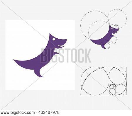Vector Dinosaur In Golden Ratio Style. Editable Illustration