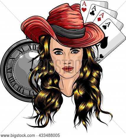 Vector Illustration Of Woman Head With Clock