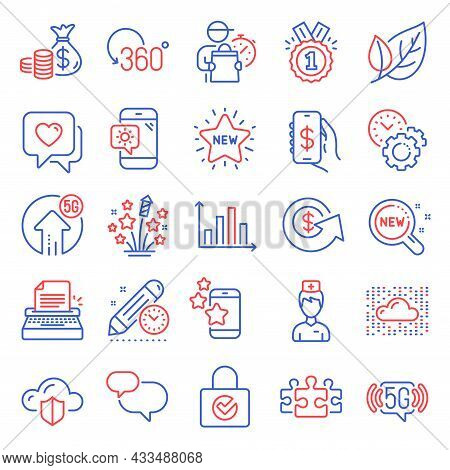 Business Icons Set. Included Icon As Leaf, Dollar Exchange, New Star Signs. Heart, Full Rotation, Ty