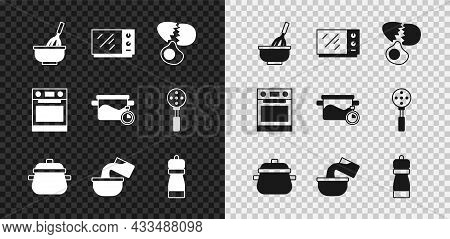 Set Kitchen Whisk With Bowl, Microwave Oven, Broken Egg, Cooking Pot, Saucepan, Pepper, Oven And Ico