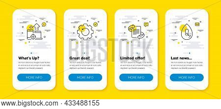 Vector Set Of Recovery Gear, Marketing And Seo Devices Line Icons Set. Ui Phone App Screens With Lin