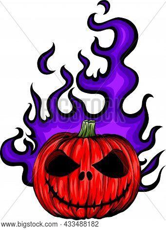 Cartoon Vector Image Of A Scary Flaming Halloween Pumpkin Jack O Lantern Head With Screaming Express