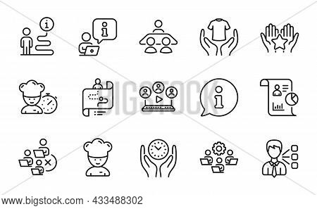People Icons Set. Included Icon As Video Conference, Interview Job, Ranking Signs. Remove Team, Chef