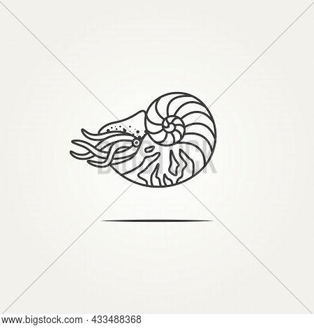 Isolated Nautilus Ocean Shell Minimalist Line Art Logo Icon Template Vector Illustration Design. Sim